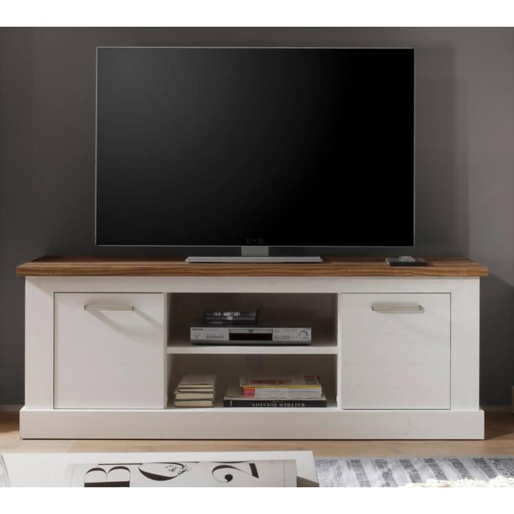 meuble tv contemporain pin blanc noyer hamilton