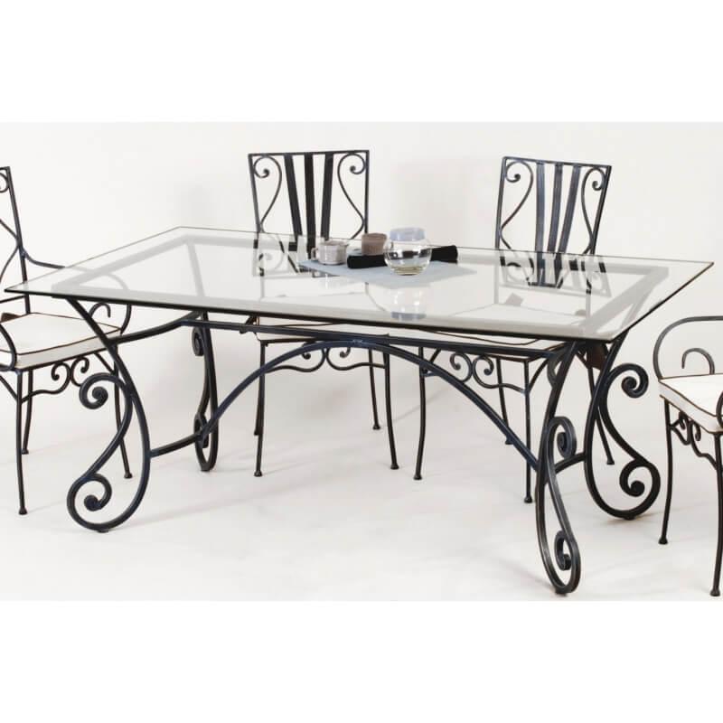 table de salle a manger rectangulaire en fer forge marylene