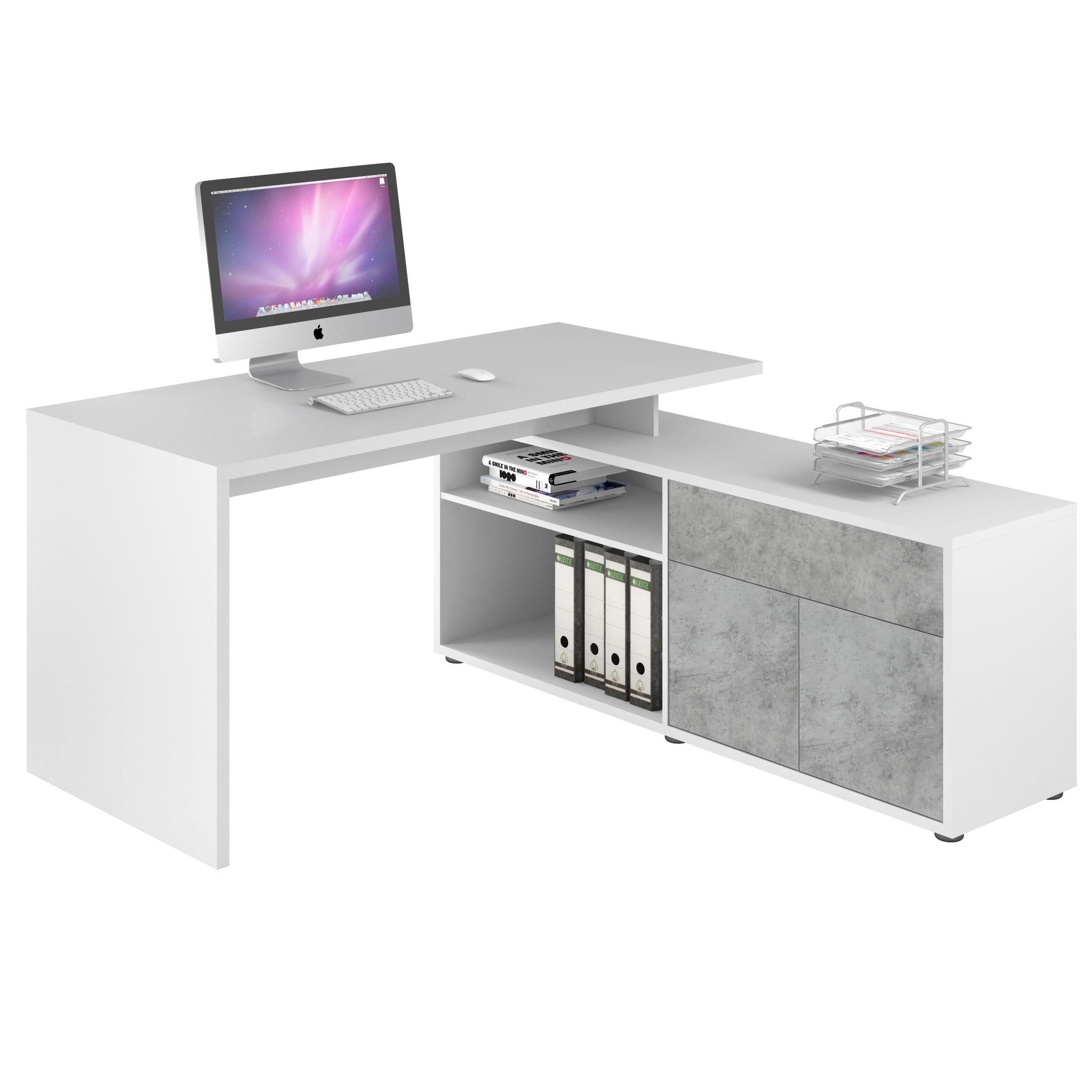 bureau d angle contemporain coloris blanc gris pierre azula