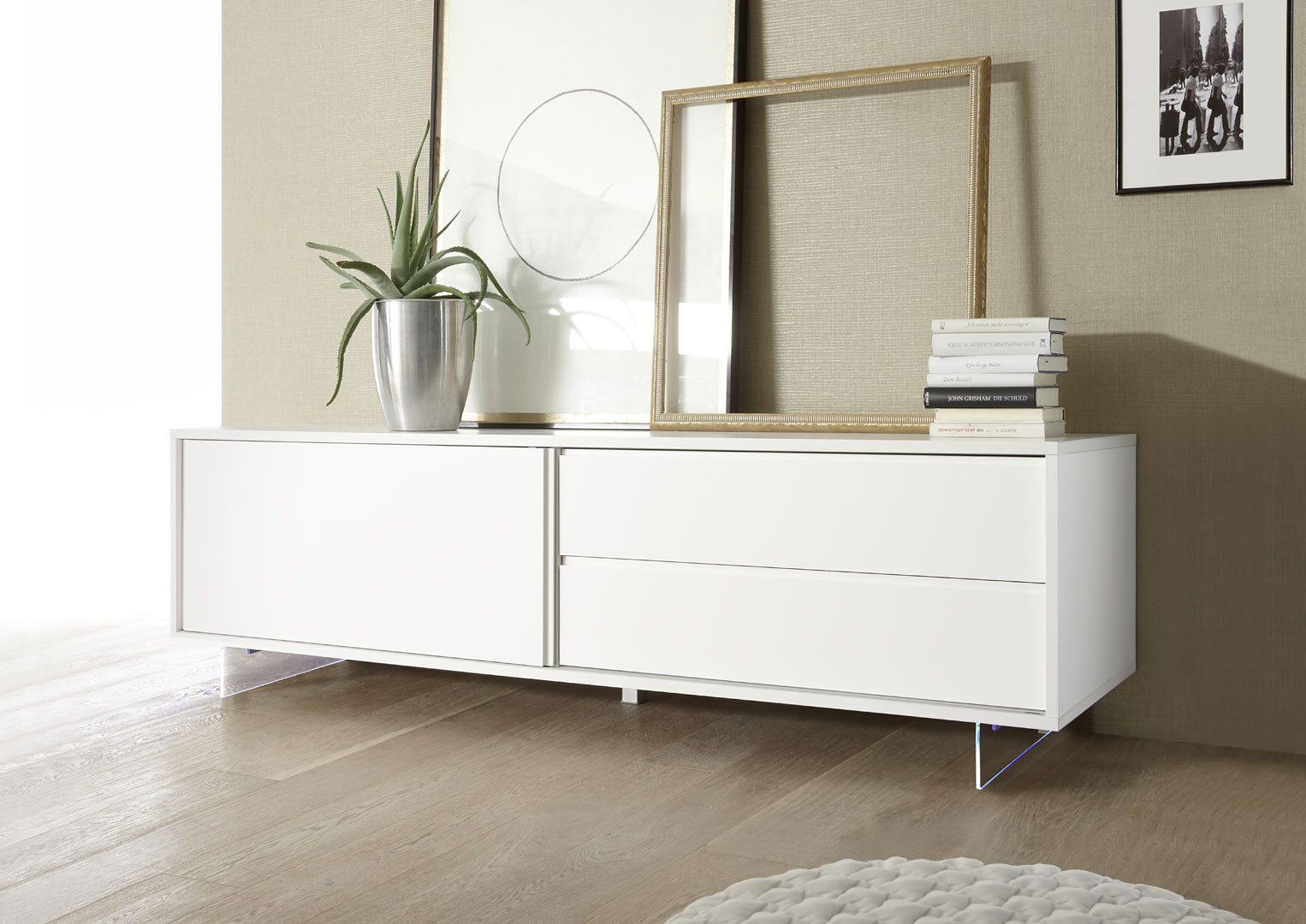 buffet bahut bas design 1 porte 2 tiroirs laque blanc mat martin