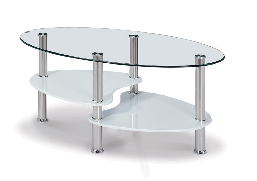 table basse design ovale en verre mdf blanc laque konie