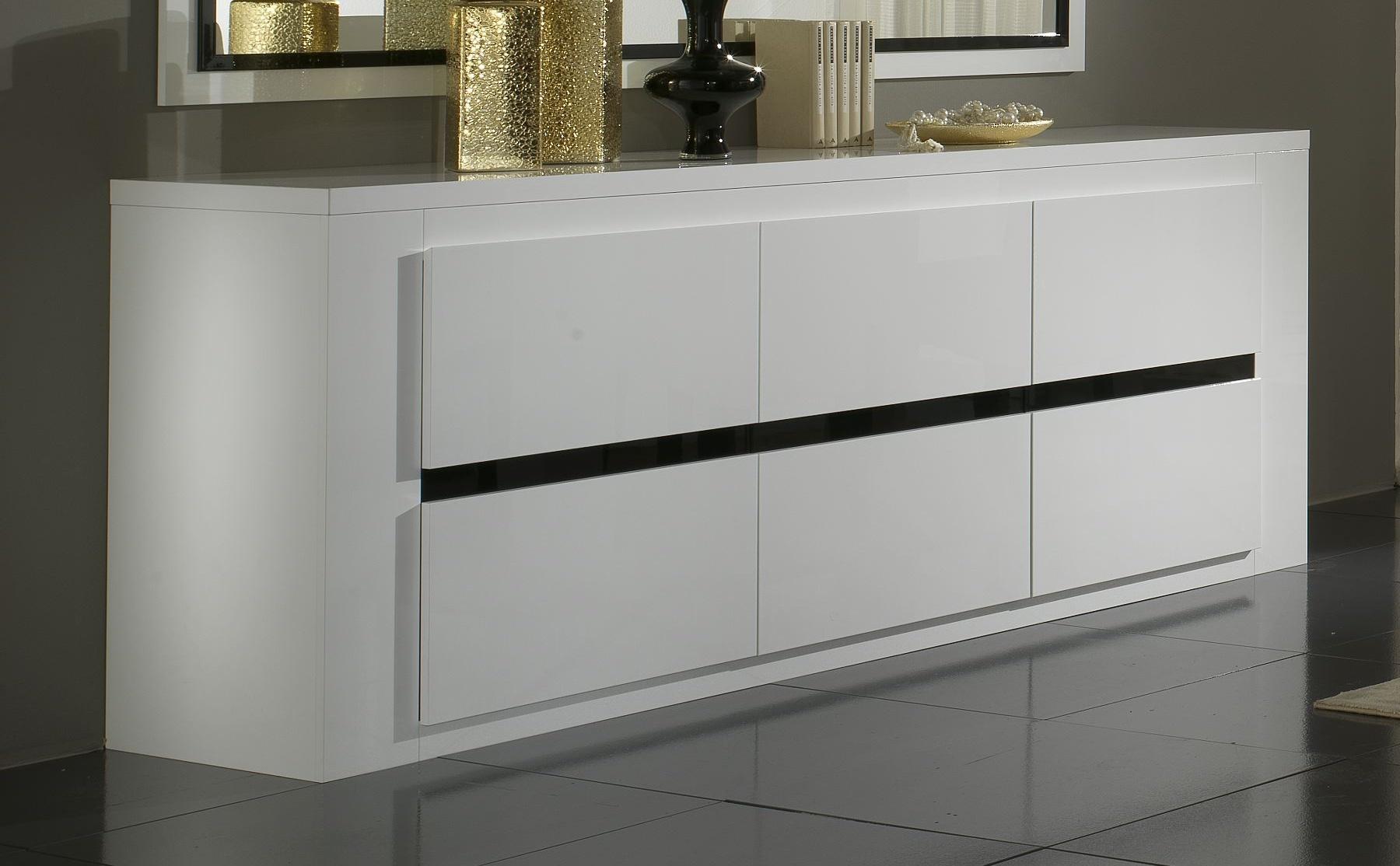 buffet bahut design 3 portes laque blanc et noir adriana