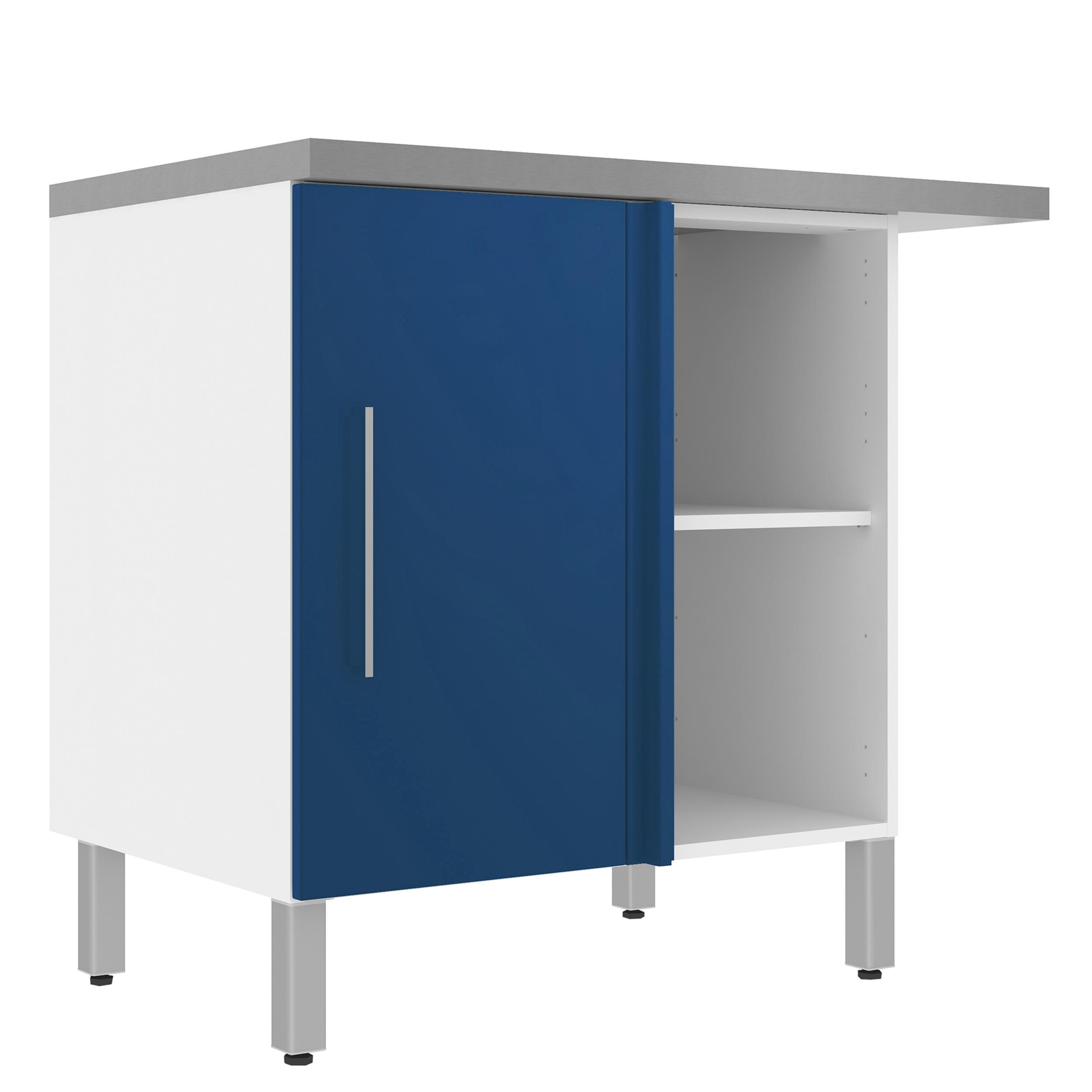 meuble bas d angle 100 cm blanc bleu brillant jakarta