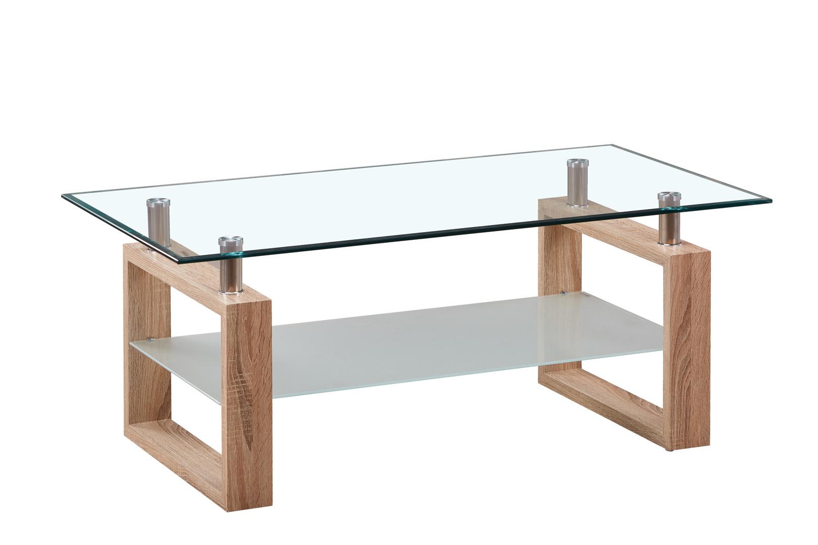 table basse design verre et bois coloris chene andora