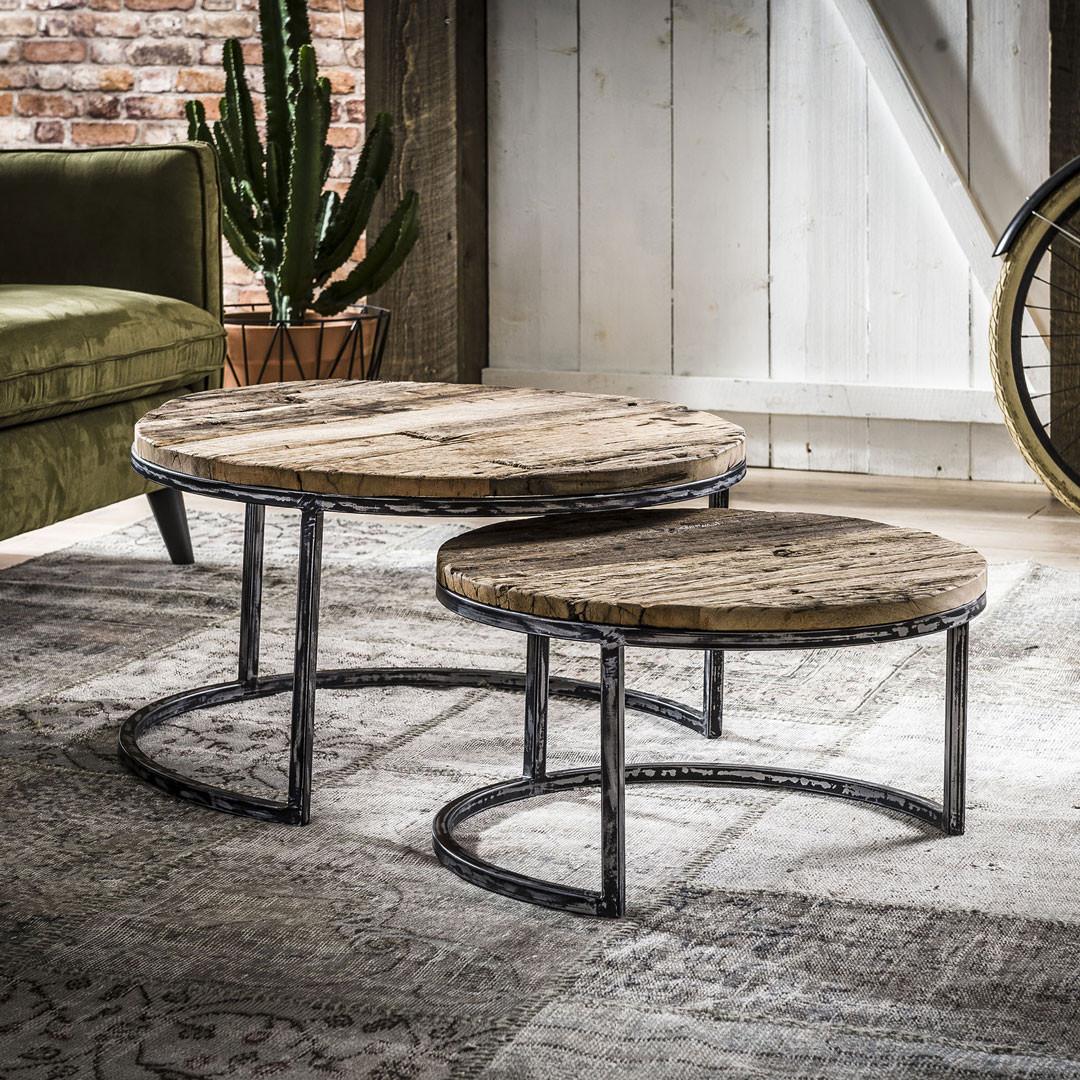 ensemble de 2 tables basses rondes vintage en bois massif a pietement en acier marina
