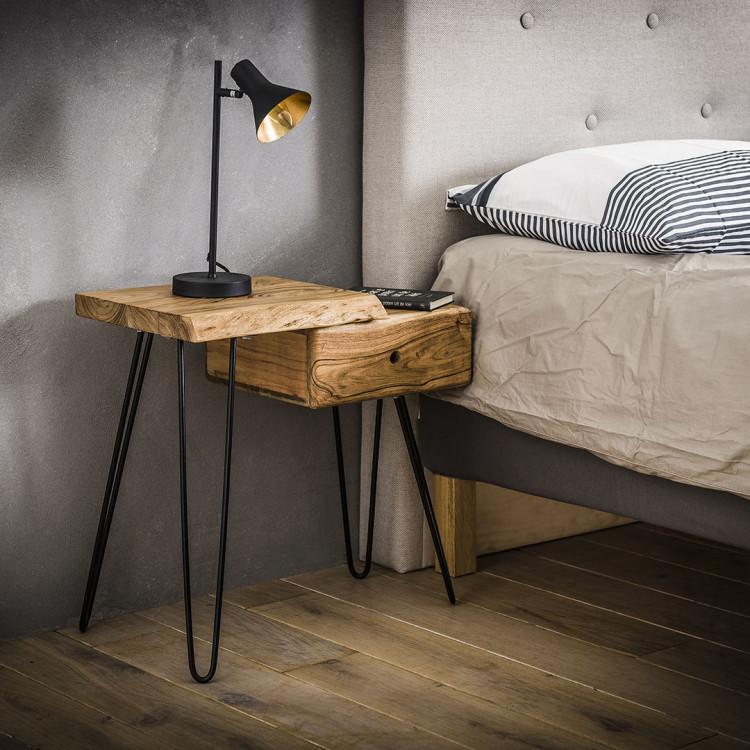 table de chevet vintage en bois massif avec tiroir a droite jules