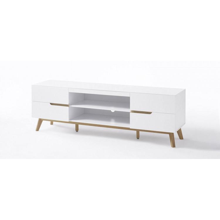 meuble tv scandinave blanc chene amodeo