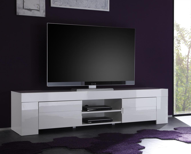 meuble tv hifi design laque blanc judy