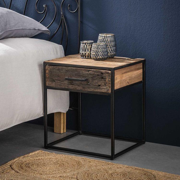 table de chevet contemporaine en bois 1 tiroir anais