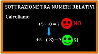 sottrazione numeri relativi