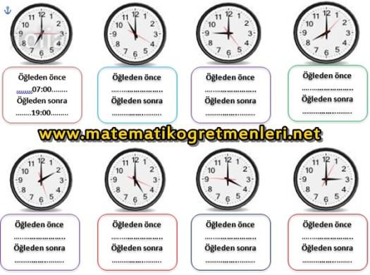 2. Sınıf Matematik Tam Ve Yarım Saatler Etkinliği