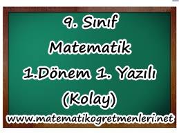 2013-2014 9. Sınıf Meslek Lisesi Kolay 1. Dönem 1. Yazılı