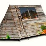 Barraca de camping com visual de chalé rústico montanhês