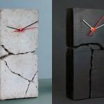 O charme dos relógios de mesa com a estrutura de cimento rachada
