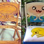 Restauração de cadeira velha com tema de desenho infantil