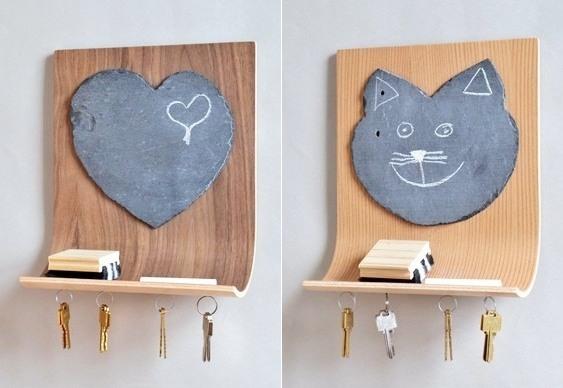 Quadro negro gato e coração