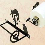 Suporte de metal para rolo de papel higiênico com gatos