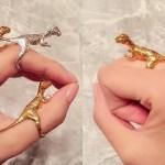 Anel ajustável para dino Tiranossauro Rex cavalgar no seu dedo