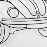 Fusca em painel 3D de parede desenhado com varetas de metal