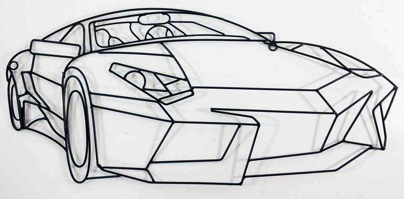 Automóvel desenhado com vergalhões