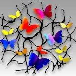 Painel de parede com borboletas coloridas de metal