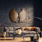 Asas de anjo metálicas em ouro velho para decorar paredes