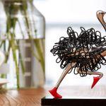 Avestruz Corredor: enfeite de mesa como porta-clipes ou joias