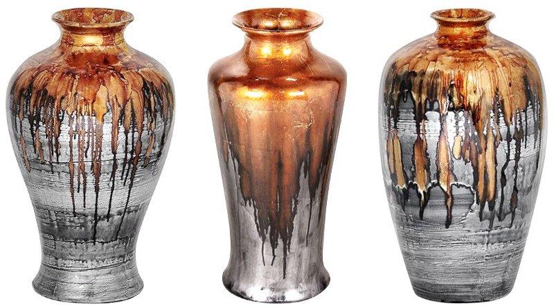 Cerâmica com metal prateado