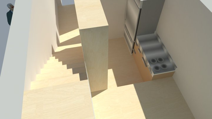 rendering for living space and stairs