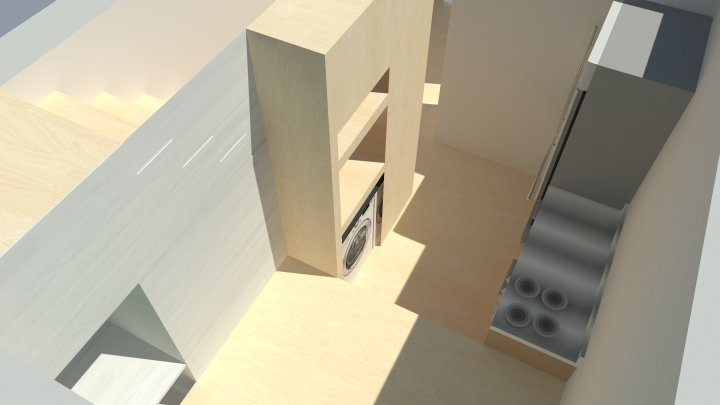 rendering for living space and kitcen