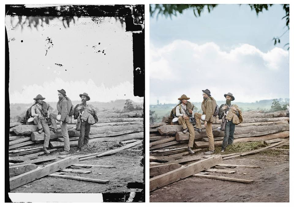 """Three Confederate prisoners, Gettysburg, 1863."" Colourisation (by Photo Chopshop) from a black and white stereograph, wet collodion on glass substrate by Mathew Brady. June or July, 1863, Gettysburg, PA., USA"