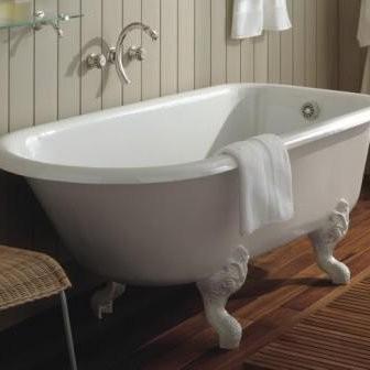 baignoire sur pied herbeau modele retro en fonte blanche 154 x 78 cm