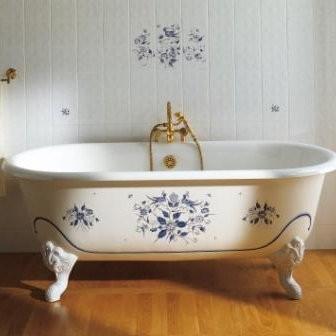 baignoire sur pied herbeau josephine en fonte blanche 155 x 78 cm