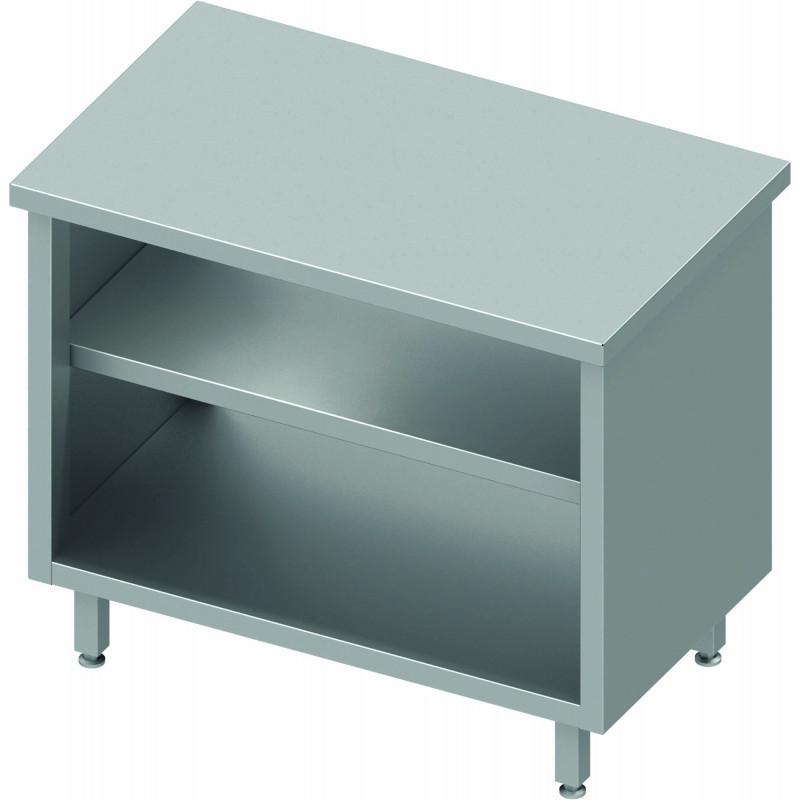 meuble bas cuisine inox ouvert central avec etagere profondeur 800 stalgast