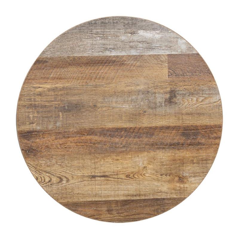 plateau de table rond 600 mm effet bois vielli bolero