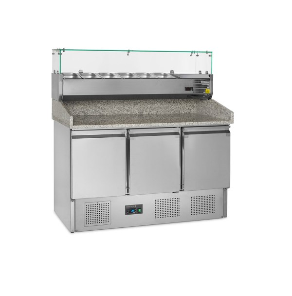 PT1365 - TABLE A PIZZA, FROID VENTILE +2 +10°C, 3-PORTES, 136CM, PROFONDEUR 700, GN, AVEC CONSOLE REFRIGEREE
