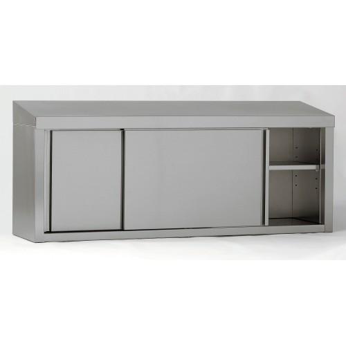 armoire suspendue avec porte coulissante en acier inoxydable dessus incline largeur 400 mm