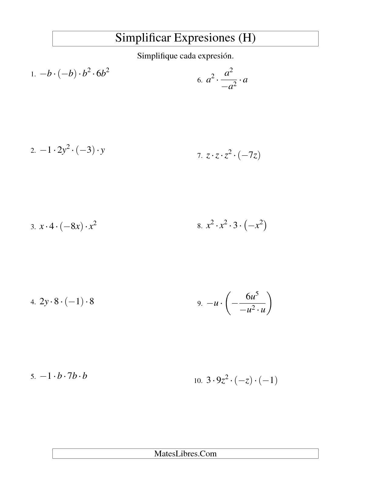 Simplificar Expresiones Algebraicas Multiplicacion Y Division Una Variable Cuatro Terminos H