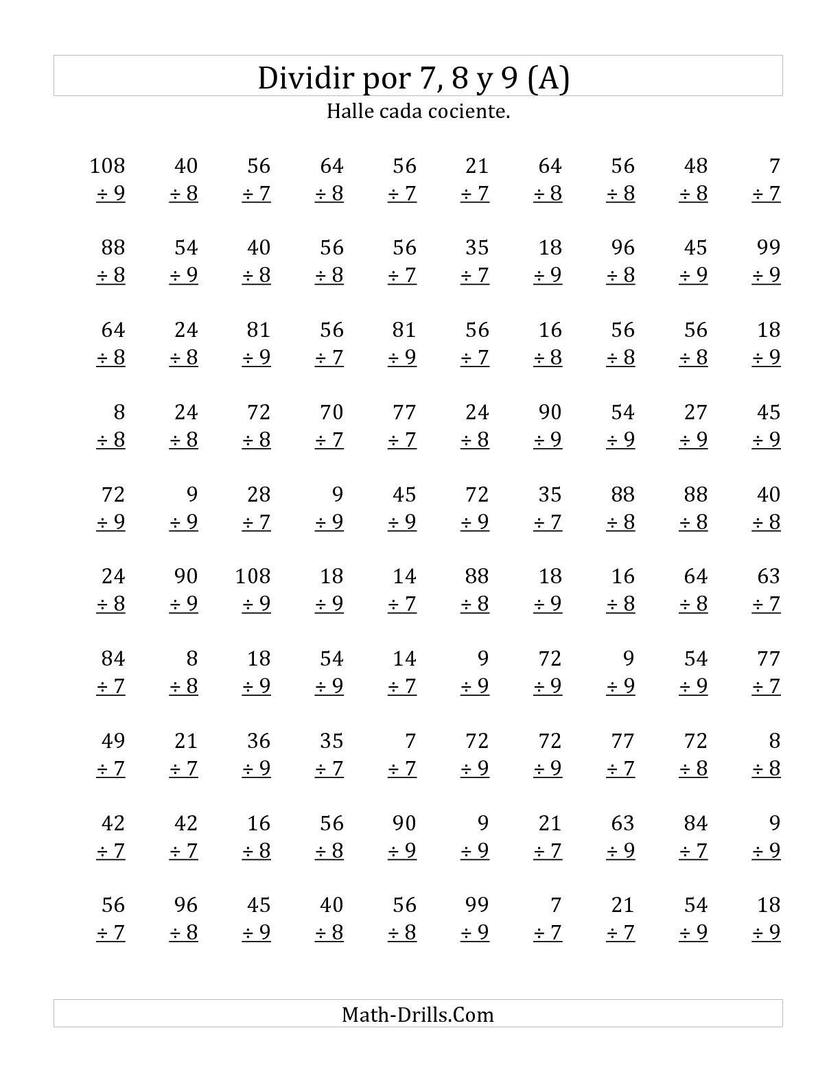 Divisiones Basicas Por 7 8 Y 9 A Hoja De Ejercicio De