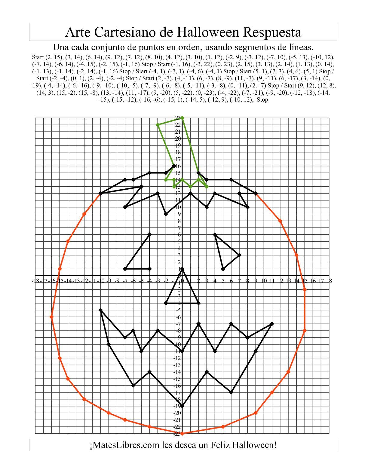 Arte Cartesiano De Halloween Calabaza Hoja De Ejercicio De Halloween