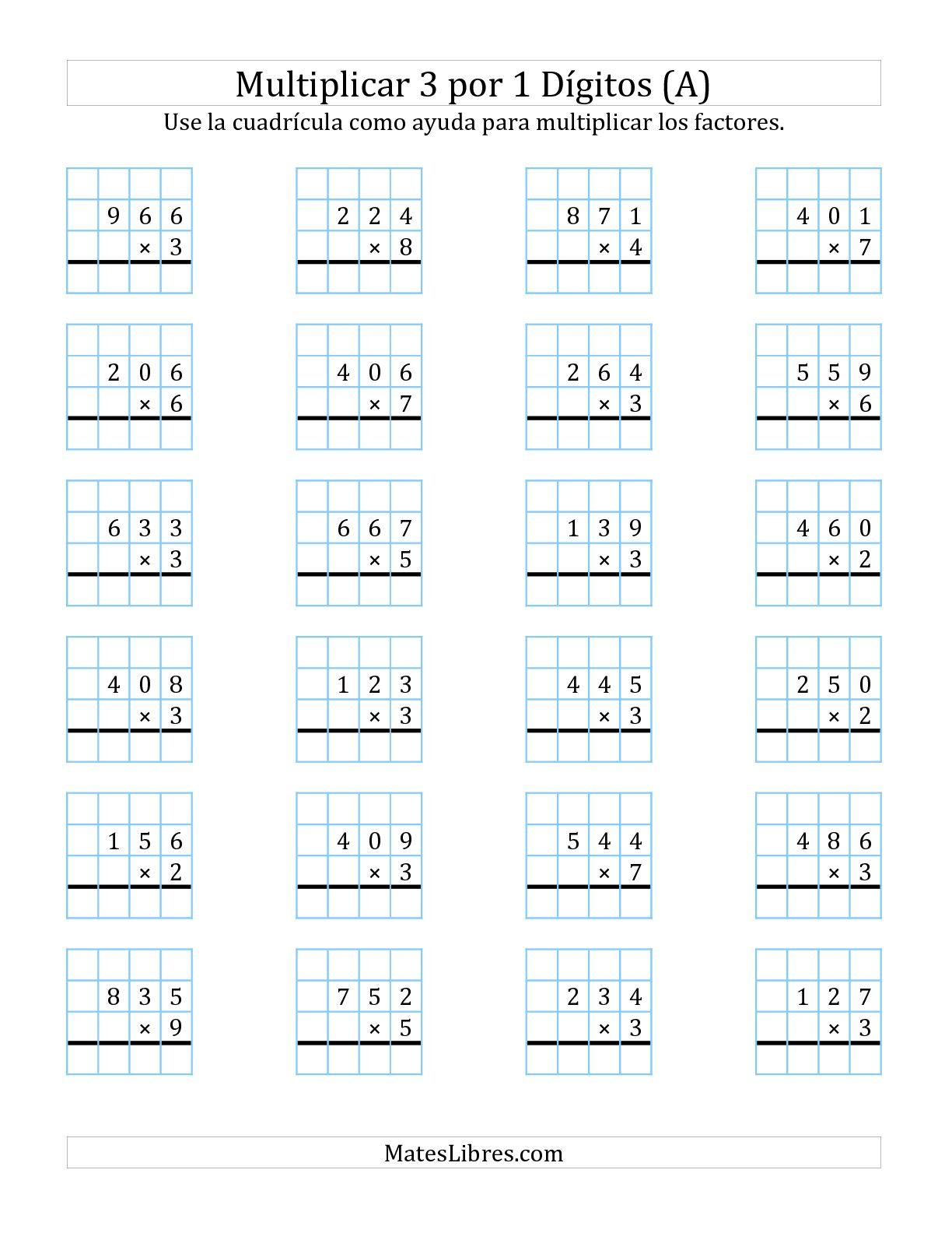 Multiplicacion En Cuadricula Tres Digitos Por Un Digito A Ejercicios De Multiplicacion