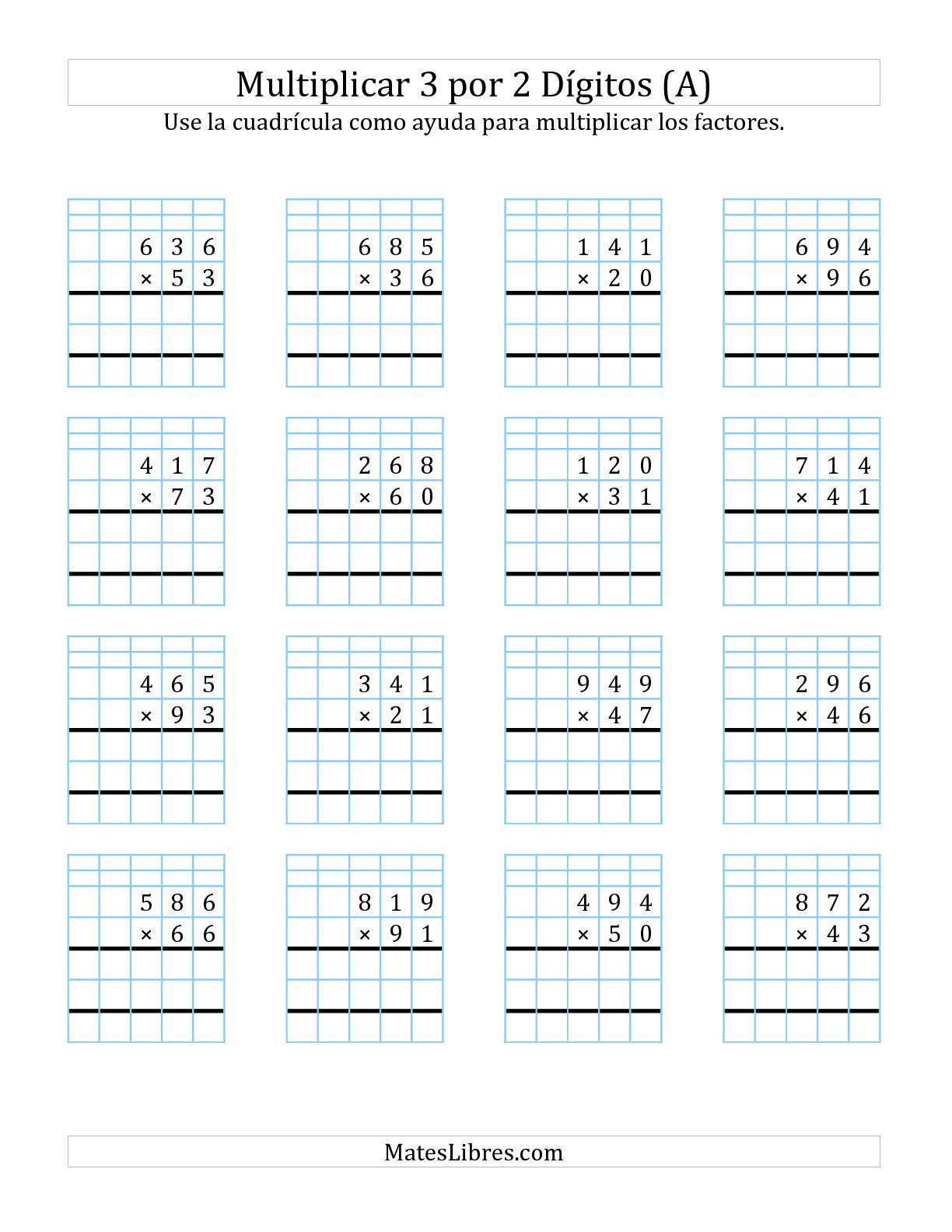 Multiplicacion En Cuadricula Tres Digitos Por Dos Digitos
