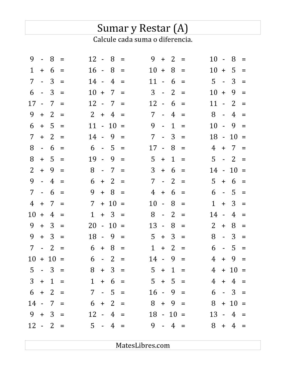 100 Preguntas Horizontales De Suma Y Resta De 1 A 10 A