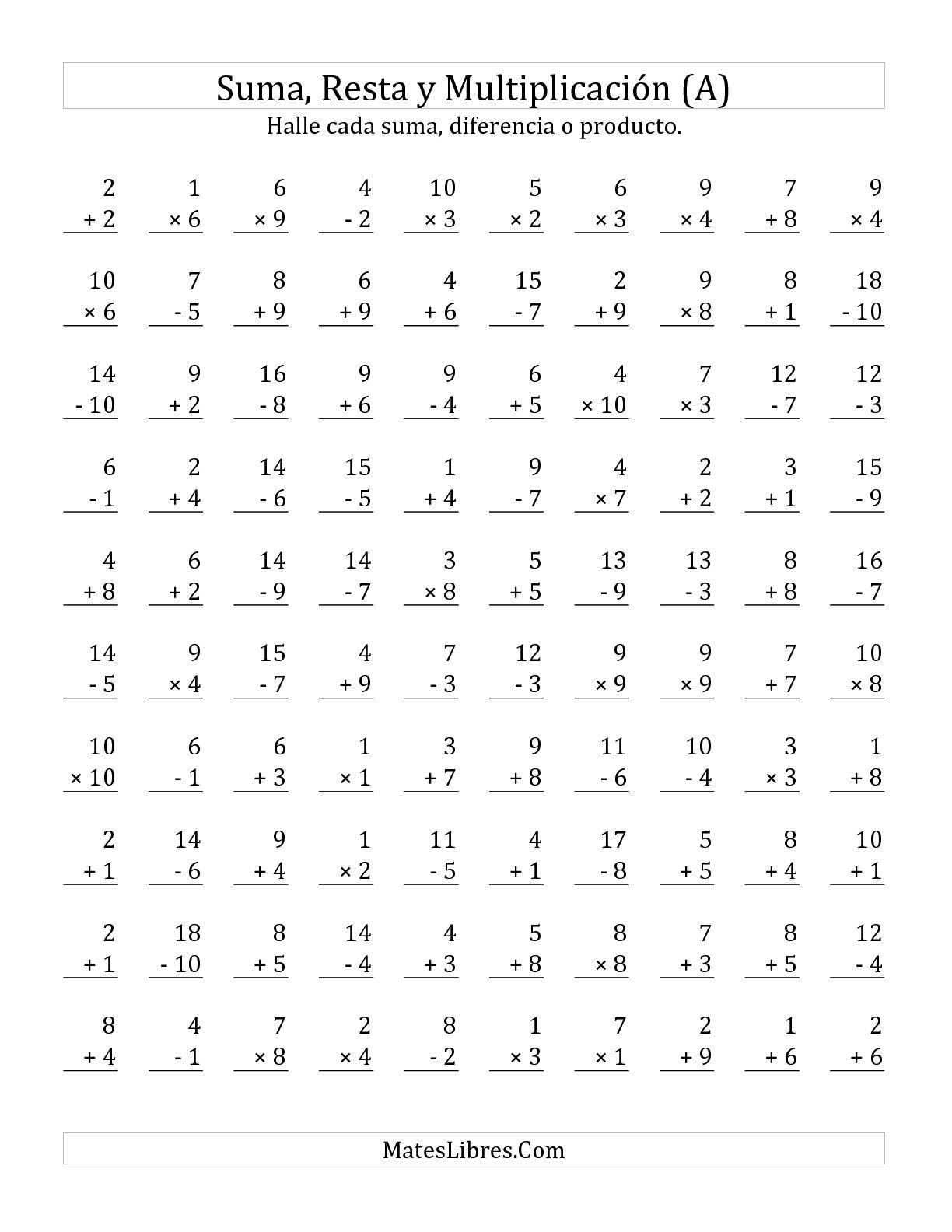 Sumar Restar Y Multiplicar Rango De 1 A 10 A Hoja De