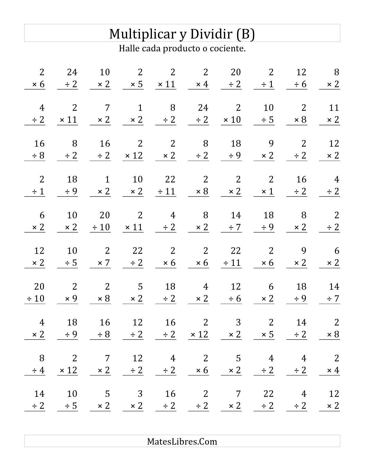 Multiplicar Y Dividir Por 2 B Hoja De Ejercicio De Operaciones Mixtas