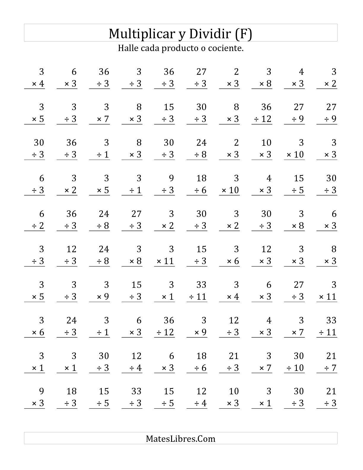 Multiplicar Y Dividir Por 3 F Hojas De Ejercicios De