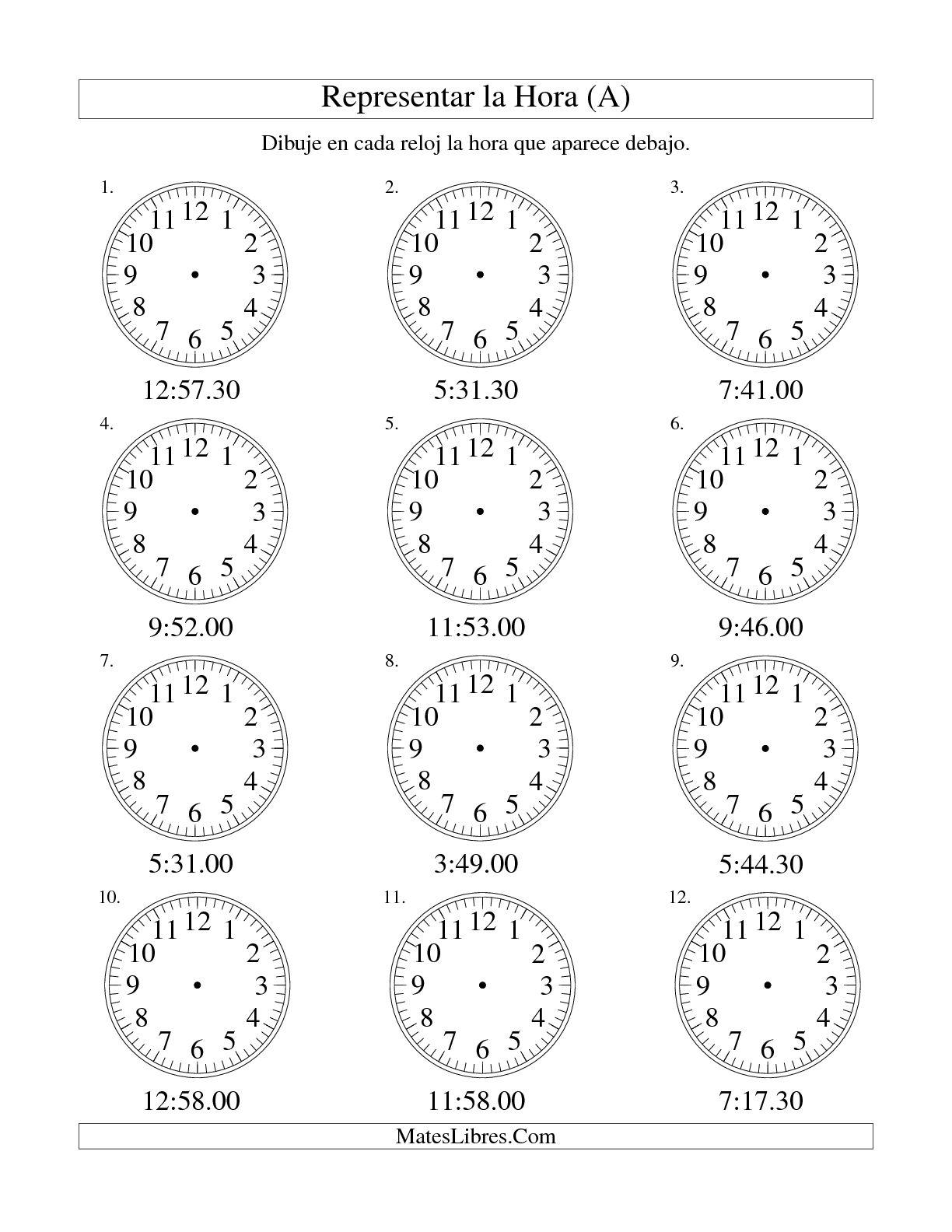 Representar La Hora En Un Relojogico En Intervalos De 30 Segundos A Hoja De Ejercicio De