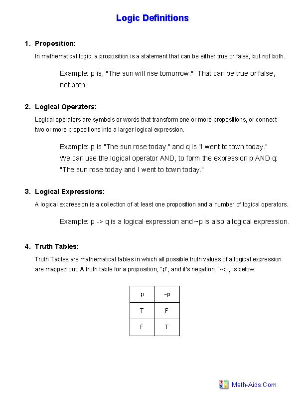 Logic Truth Tables Worksheet