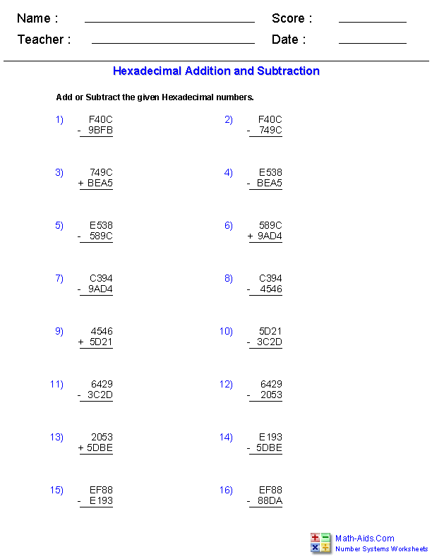 Number Systems Worksheets