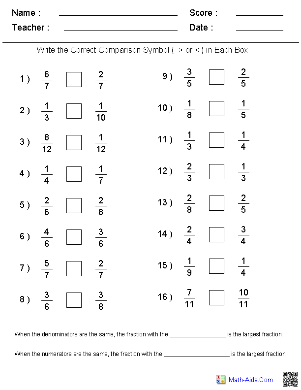 Fractions Worksheets Printable Fractions Worksheets For